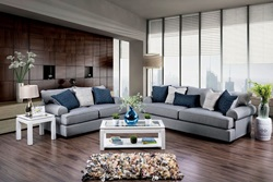 Gilda Living Room Set in Gray