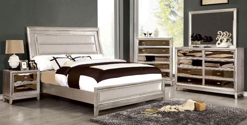 Golva Bedroom Set in Silver with Padded Footboard