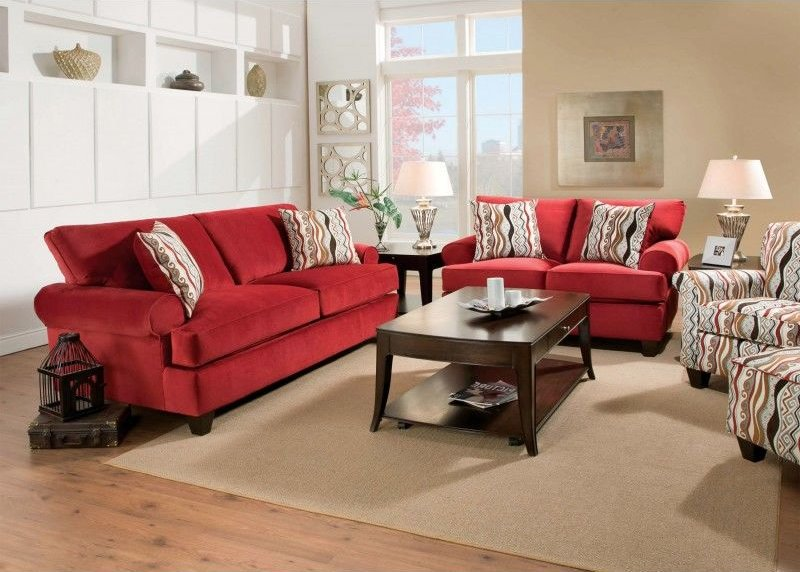 Inverness Living Room Set in Red