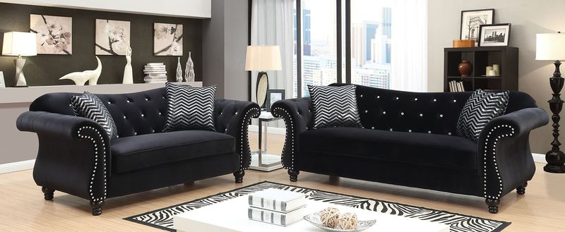 Jolanda Living Room Set in Black