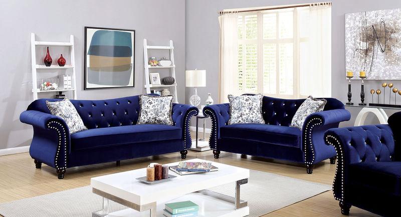 Jolanda Living Room Set in Blue