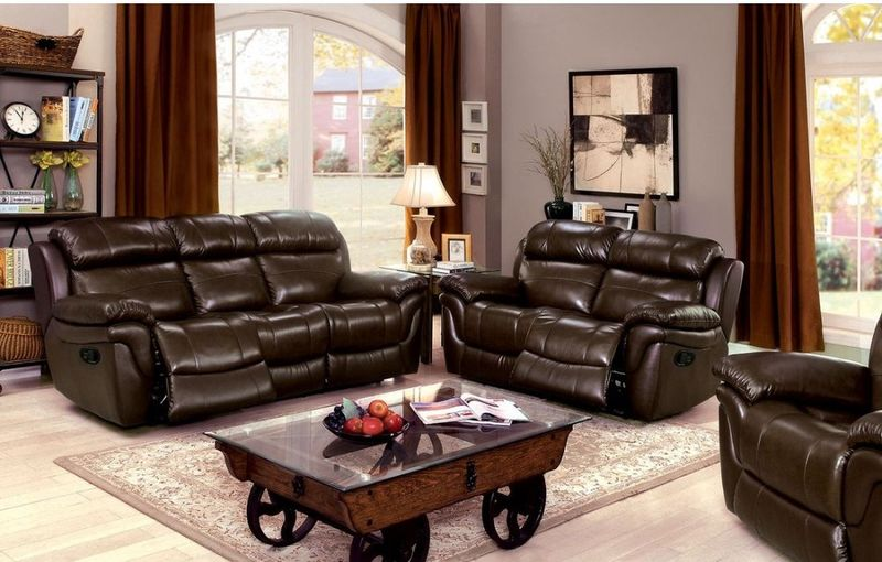 Justine Reclining Leather Living Room Set