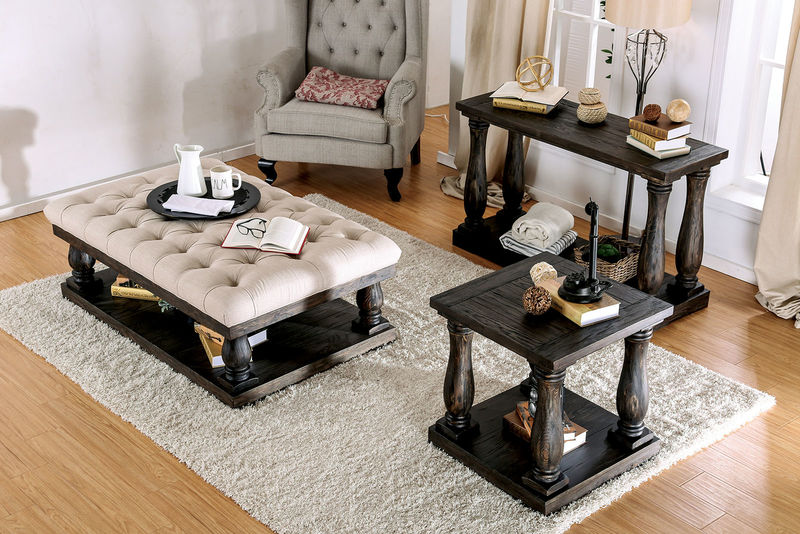 Keira Coffee Table Set with Cushioned Top