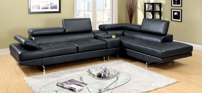 Kemi Sectional Sofa with Storage Console in Black