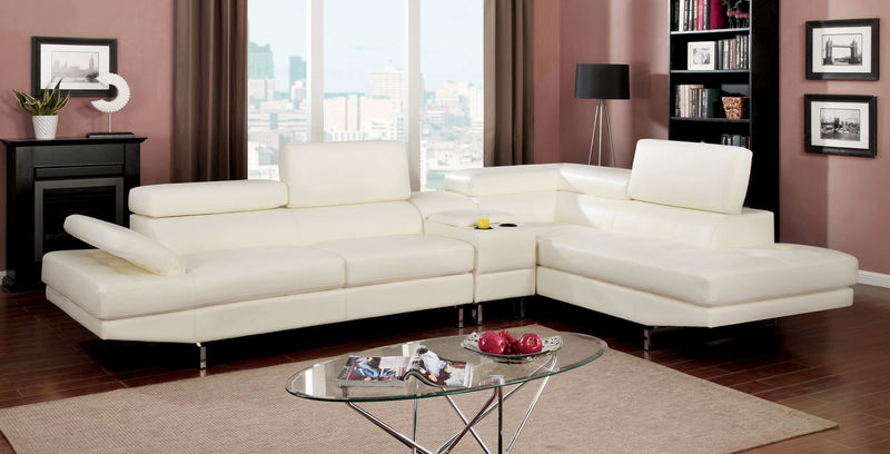Kemi Sectional Sofa with Storage Console in White