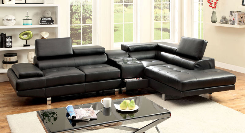 Kemina Sectional with Speaker Console in Black