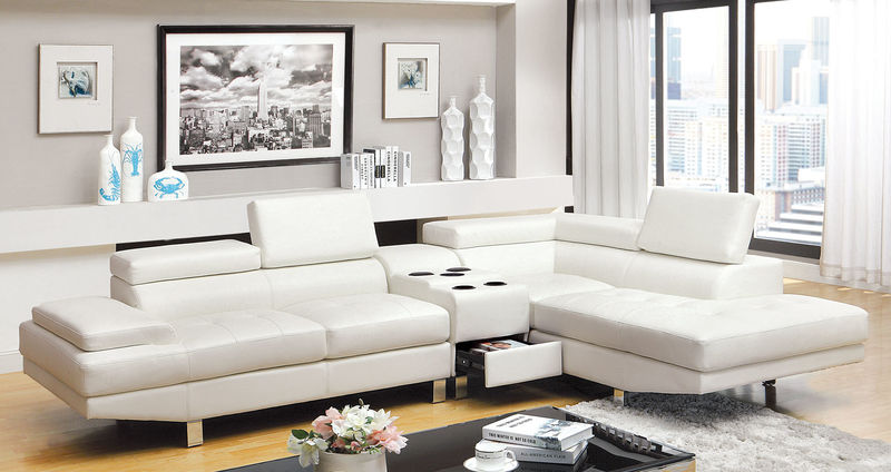 Kemina Sectional with Speaker Console in White