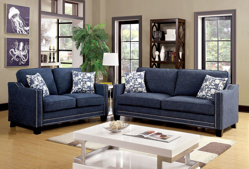 Kerian living room set in blue
