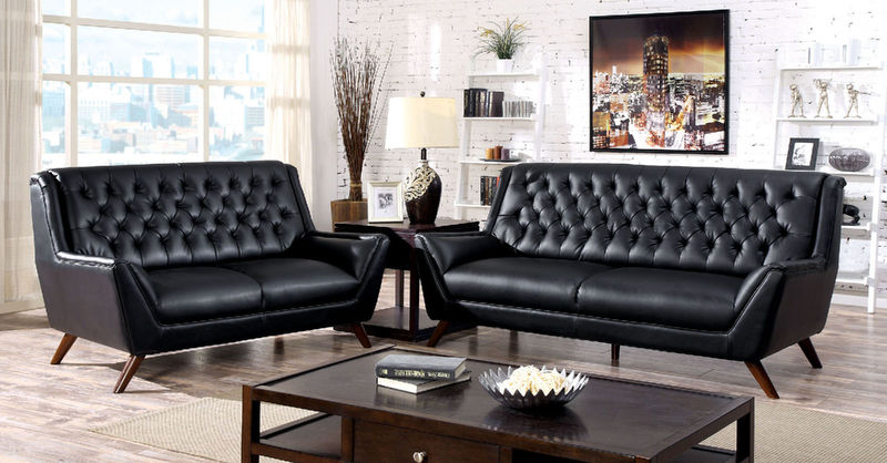 Leia Living Room Set in Black