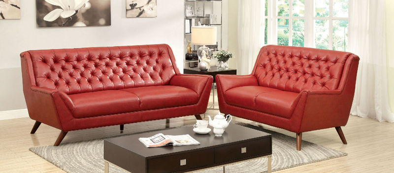 Leia Living Room Set in Red
