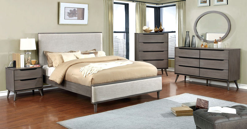 Lennart Bedroom Set in Gray with Fabric Headboard