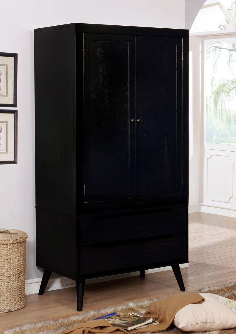 Lennart II Bedroom Set in Black with Fabric Headboard