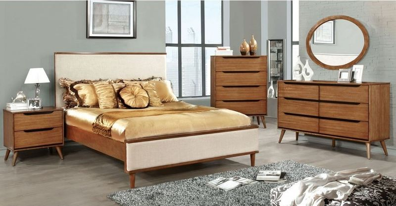 Lennart Bedroom Set in Oak with Fabric Headboard