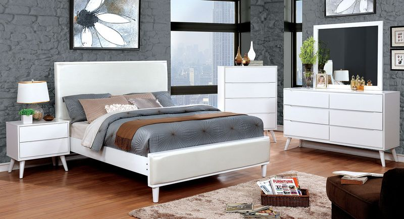 Lennart II Bedroom Set in White with Leatherette Headboard