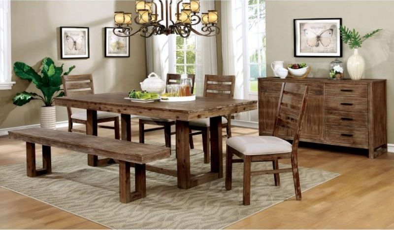 Lidgerwood Rustic Dining Room Set with Bench