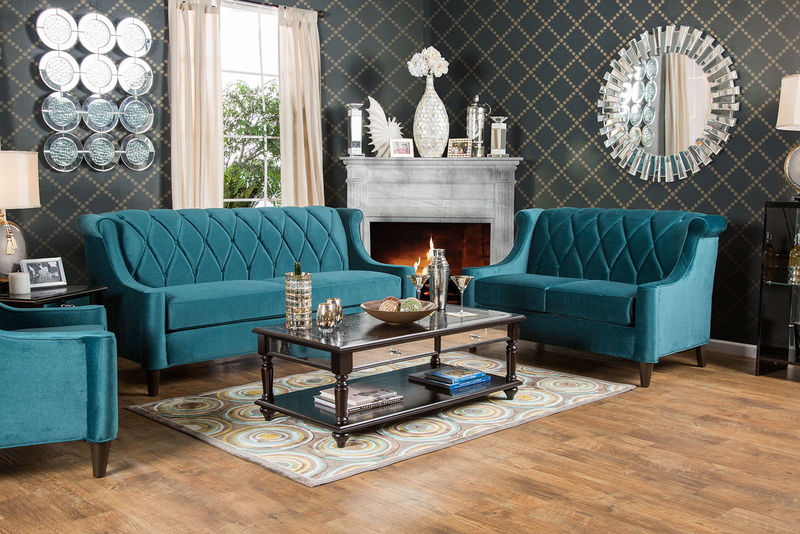 Limerick Living Room Set in Teal