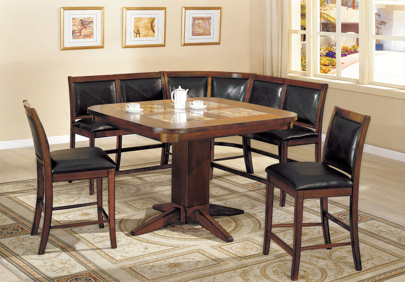 Living Stone Counter Height Dining Room Set with Corner Seating