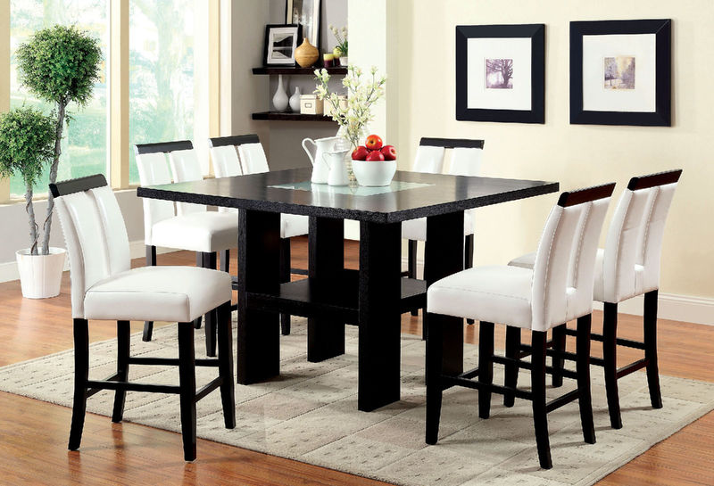 Furniture of America | CM3559PT Luminar Counter Height Dining Room Set in  Black | Dallas Designer Furniture