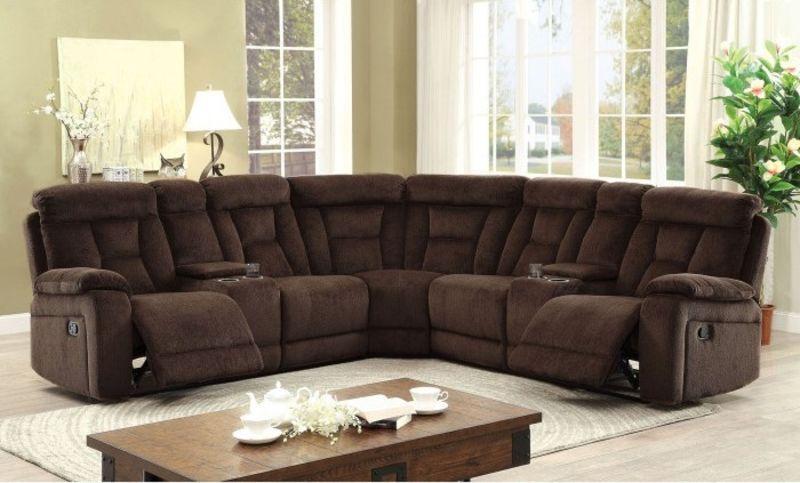 Maybell Reclining Sectional in Brown