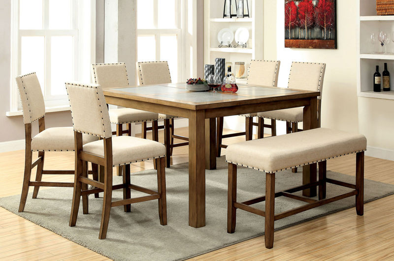 Furniture of America | CM3531PT Melston Counter Height Dining Room Set with  Bench | Dallas Designer Furniture
