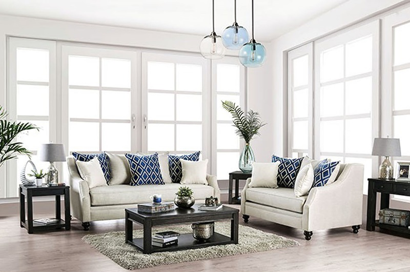 Nefyn Living Room Set in Ivory