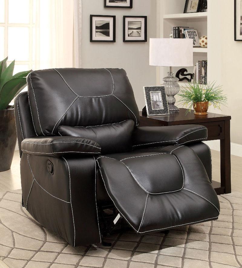 Newburg Reclining Living Room Set in Black