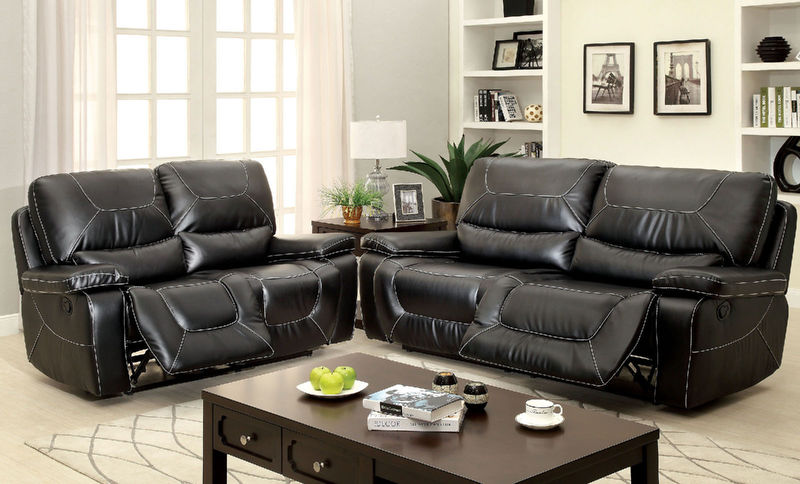 Newburg Reclining Living Room Set in Black