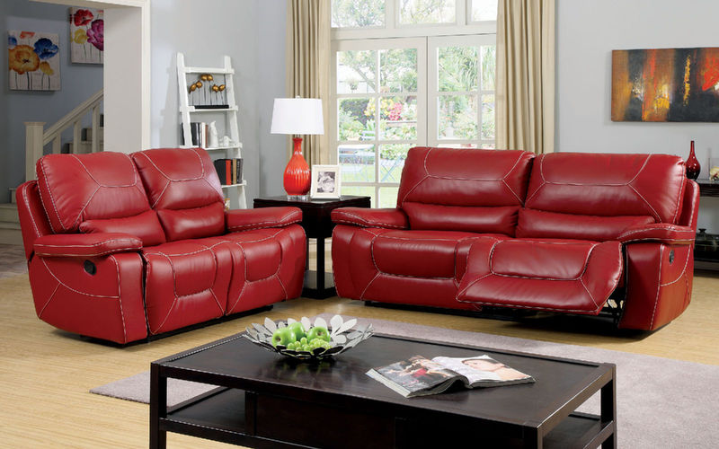 Newburg Reclining Living Room Set in Red
