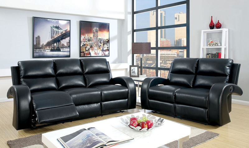 Odette Reclining Living Room Set in Black