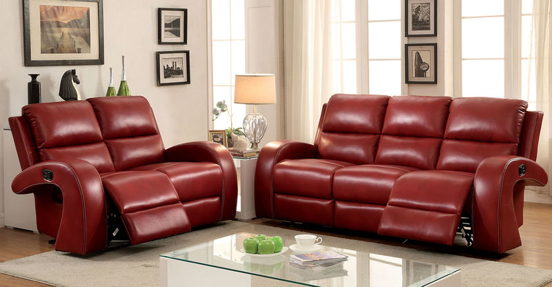 Odette Reclining Living Room Set in Red