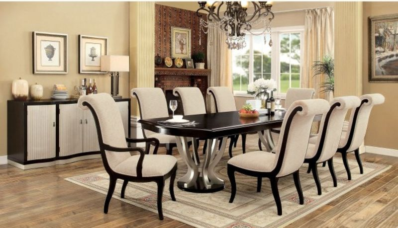 Gorgeous-Round-Shaped-Expandable-Dining-Room-Sets-Surrounded-by-Several-Wingback-Chairs-Completed-by-White-Cushion-Above-Grey-Floor-Carpet Formal Dining Room Sets For 10