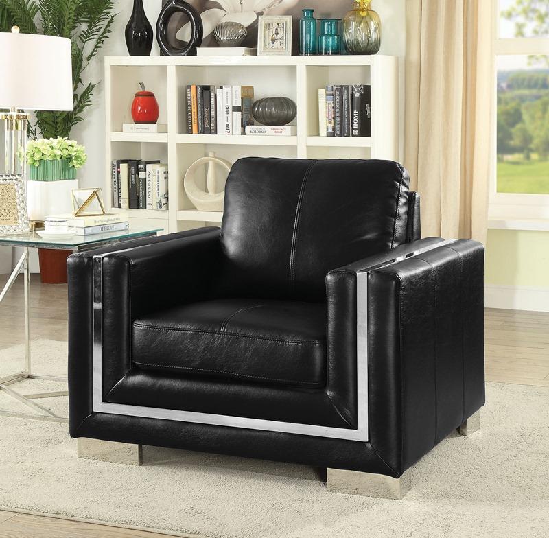 Perla Living Room Set in Black