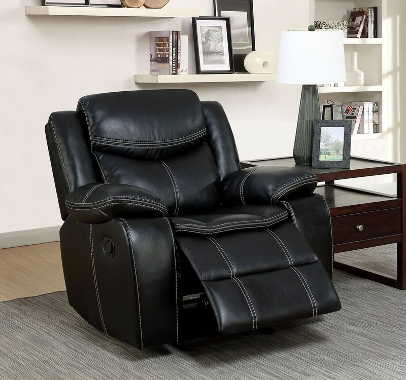 Pollux Reclining Living Room Set in Black