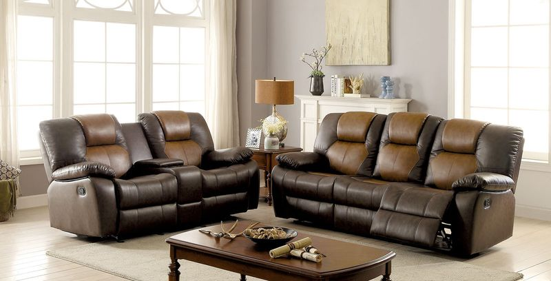 Pollux Reclining Living Room Set in Brown