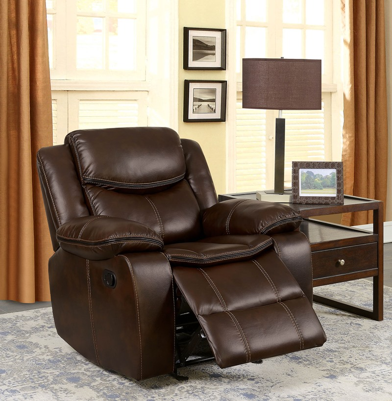 Pollux Reclining Living Room Set in Dark Brown
