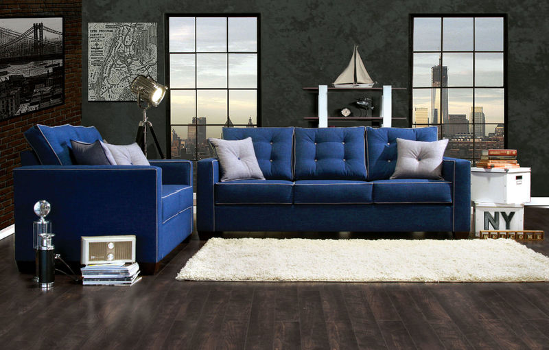 Ravel I Living Room Set in Blue