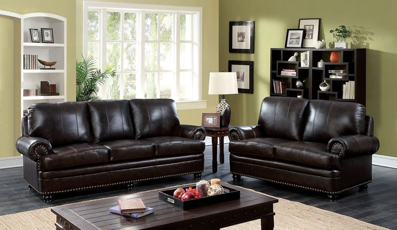Reinhardt Leather Living Room Set in Dark Brown