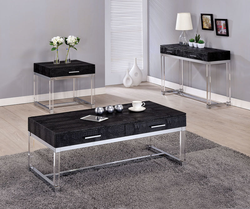 Rhea Coffee Table Set in Black