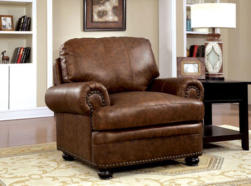 Reinhardt Leather Living Room Set in Brown