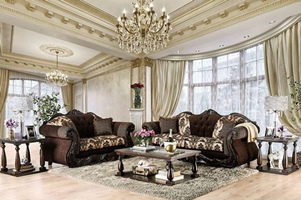 Ronja Formal Sofa Set in Dark Brown