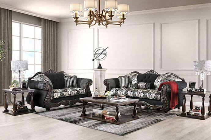 Ronja Formal Sofa Set in Black