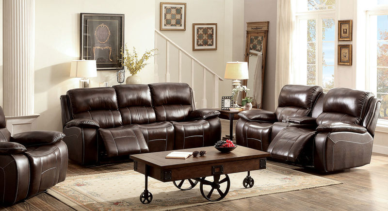 Ruth Reclining Leather Living Room Set