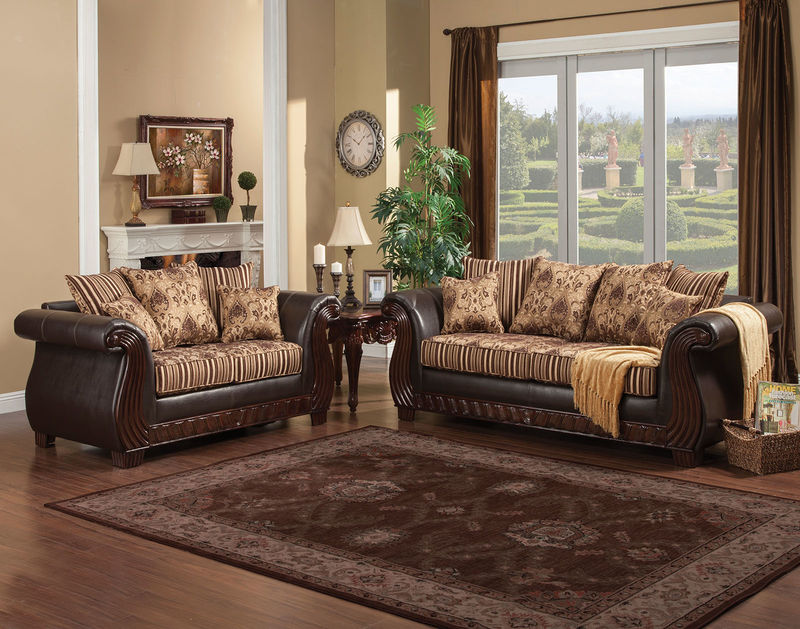 Rutherford Living Room Set in Brown