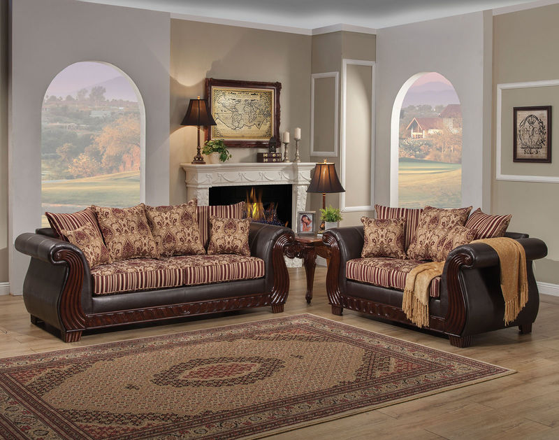 Rutherford Living Room Set in Wine