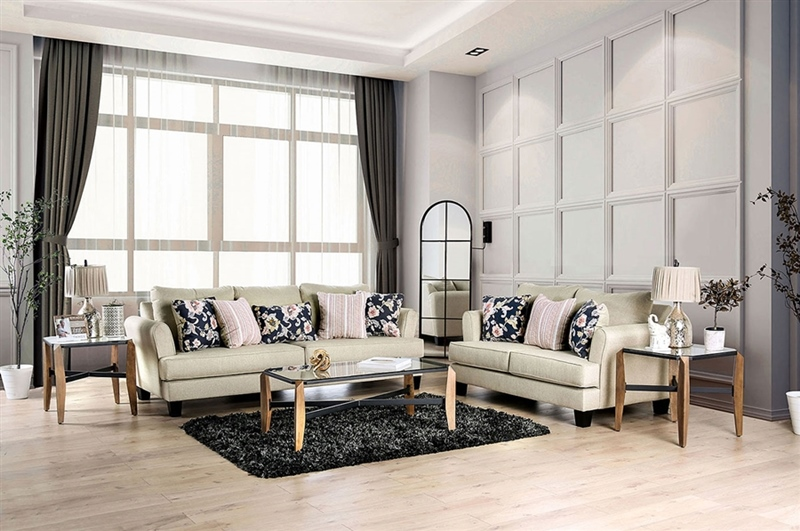 Denbigh Living Room Set in Beige