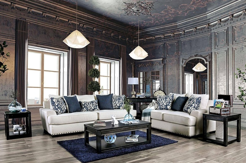 Germaine Living Room Set in Ivory