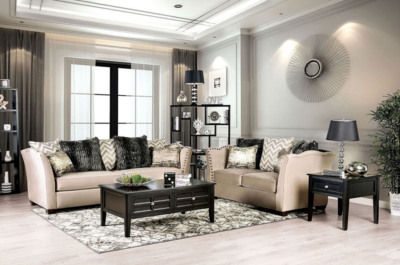 Hampden Living Room Set in Beige