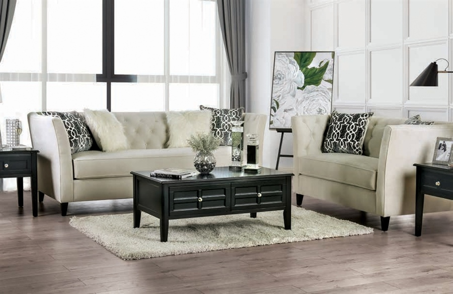 Monaghan Living Room Set in Ivory