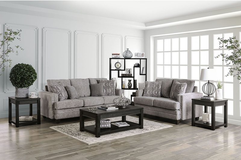 Emelie Living Room Set in Light Gray