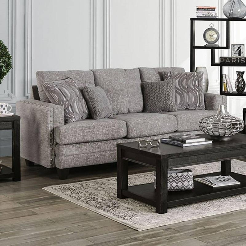 Emelie Living Room Set in Light Gray